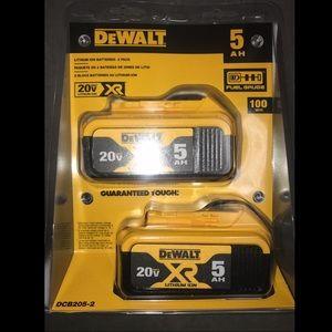 2 Dewalt Batteries DCB205-2 NEW!!!